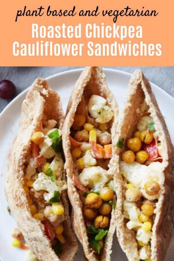 Roasted Chickpea Cauliflower Sandwich with text overlay | Bucket List Tummy