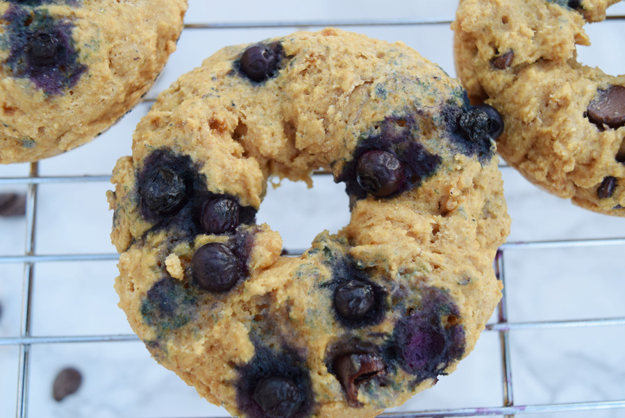 Whole Wheat Blueberry Chocolate Chip Donuts