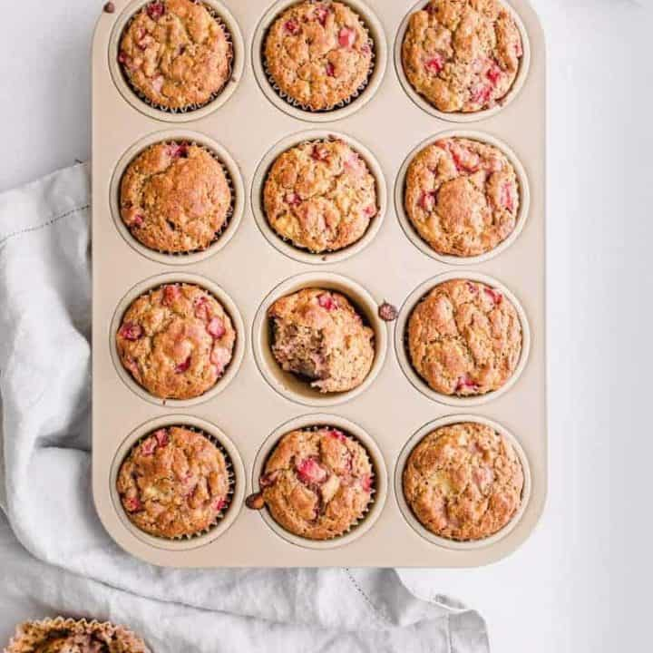 Freshly out of oven, strawberry banana chickpea muffins