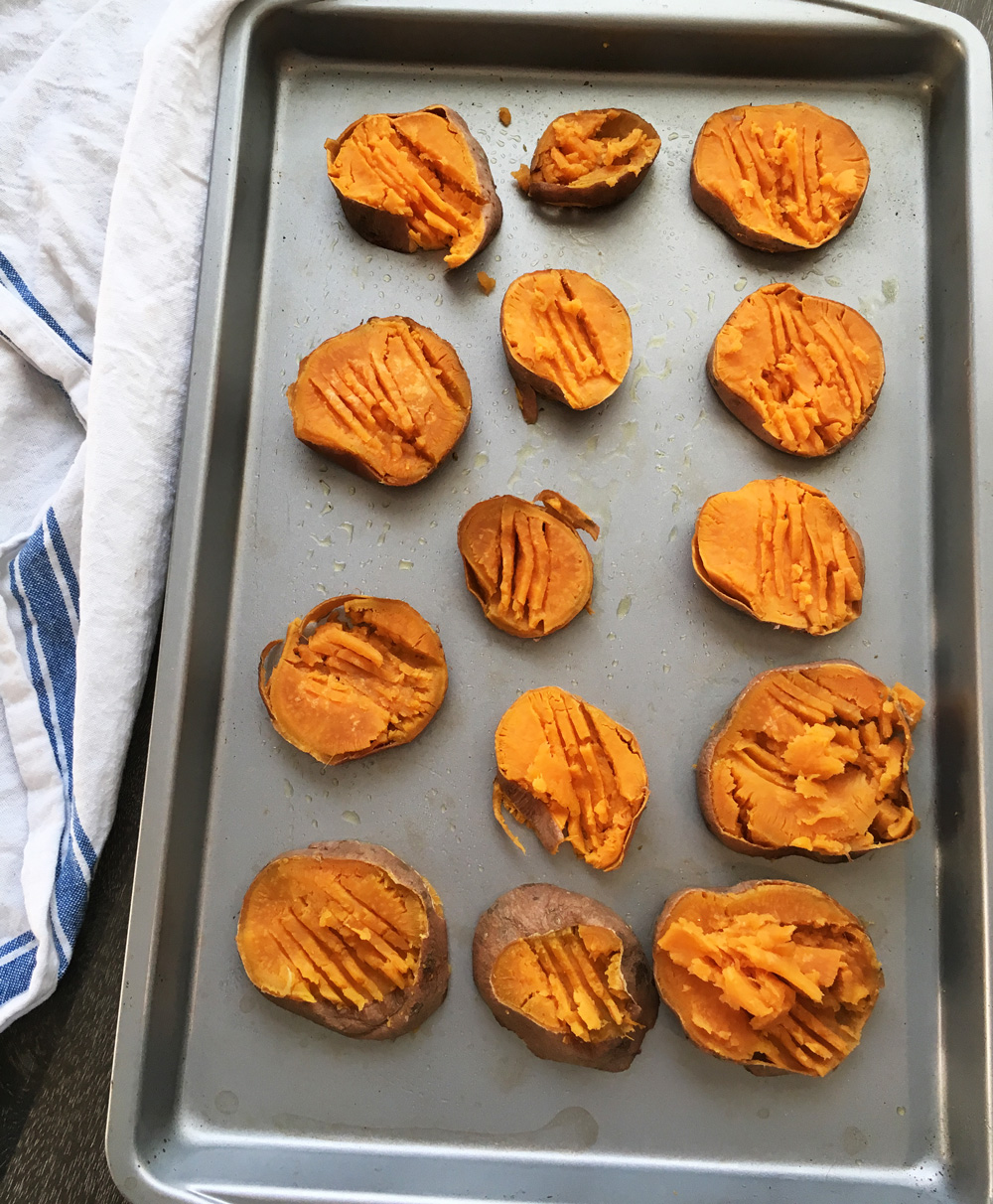 Cheesy sweet potatoes before adding the cheese