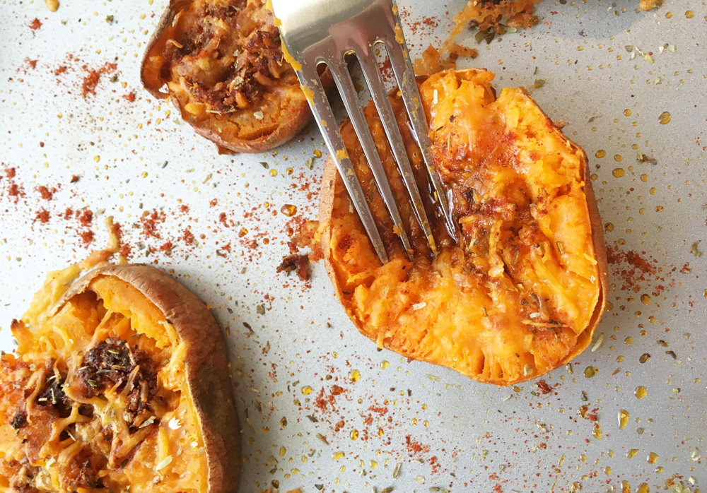 Cheesy sweet potatoes - the final result!