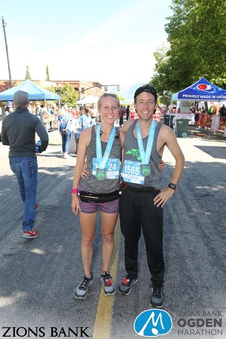 marathon runners with race medals after Ogden Marathon