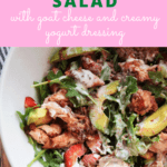 Chicken and strawberry salad with text overlay