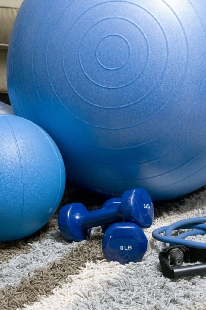 blue medicine ball and weights | Bucket List Tummy