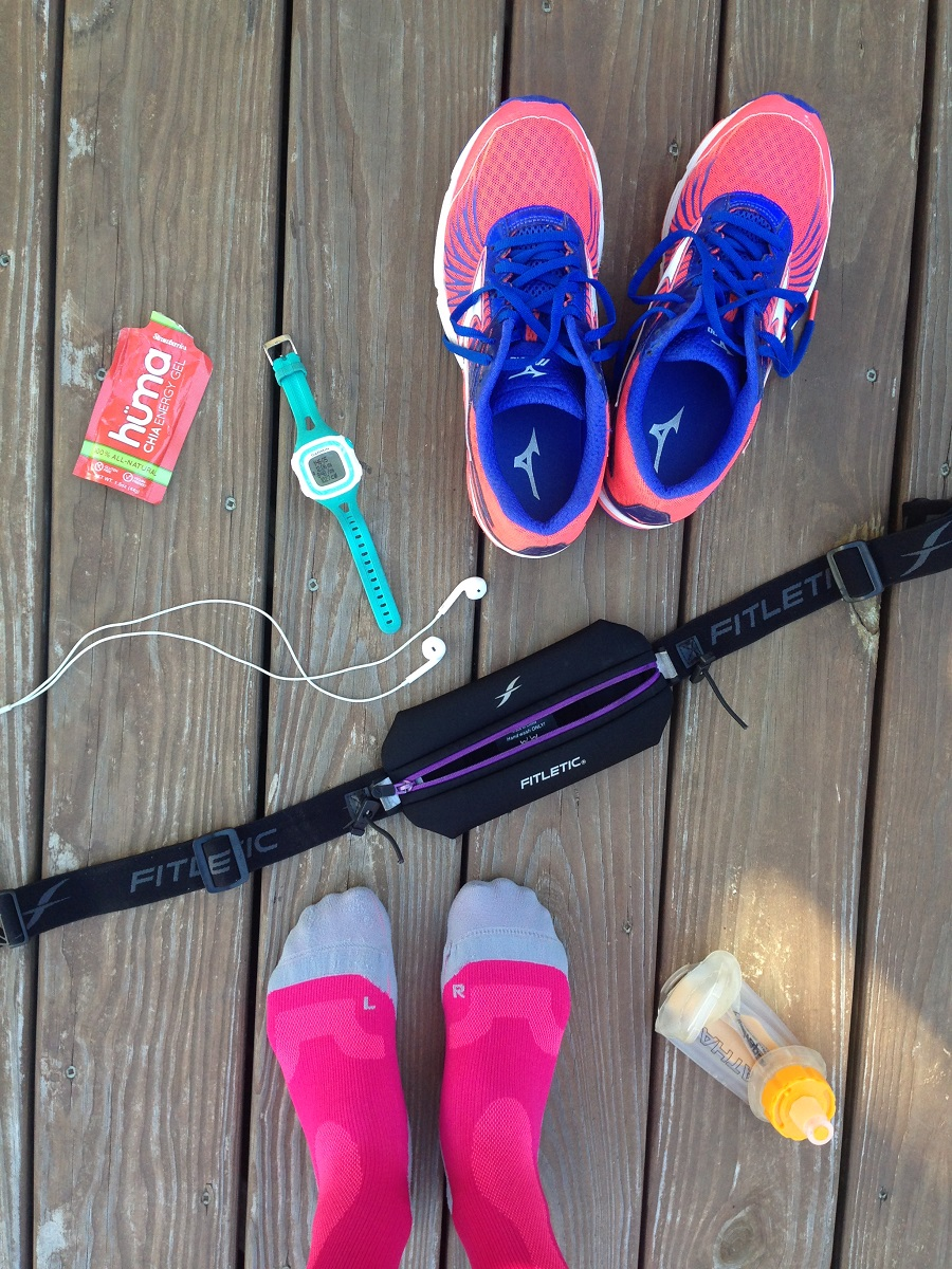 overhead view of running necessities