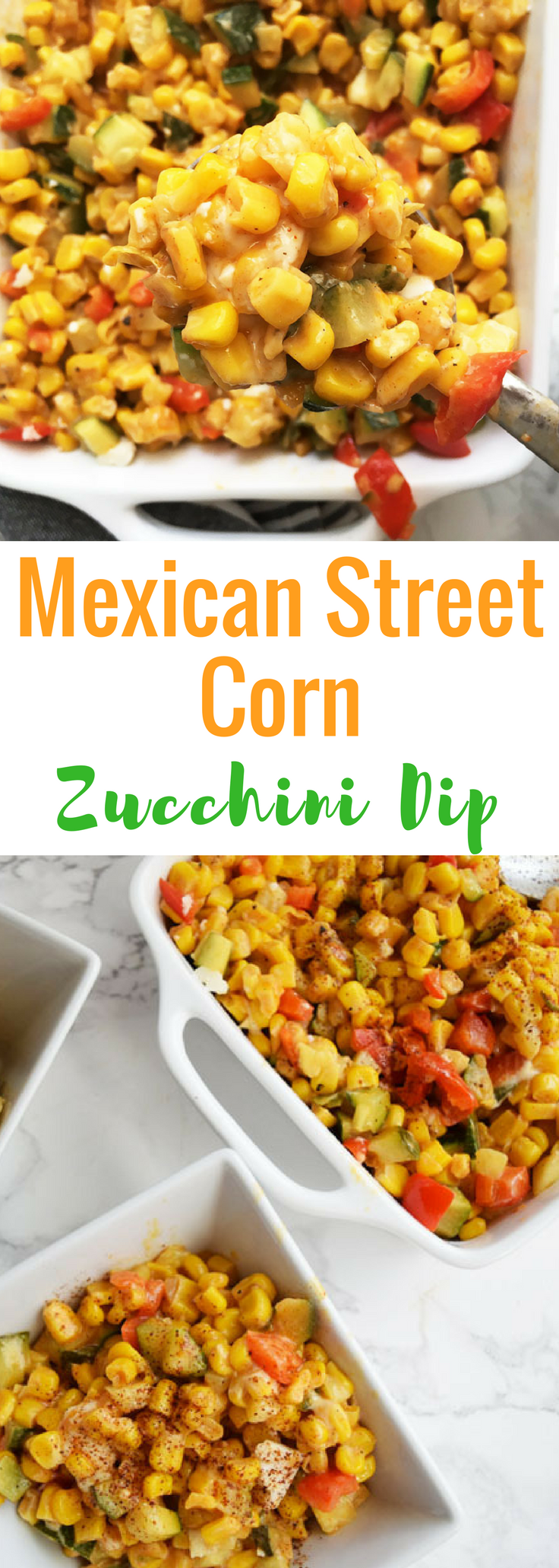 A delicious, cheesy and veggie filled Mexican Street Corn Dip with a little bit of a kick || Mexican Street Corn Zucchini Dip