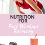 smoothie and post workout meal with text overlay