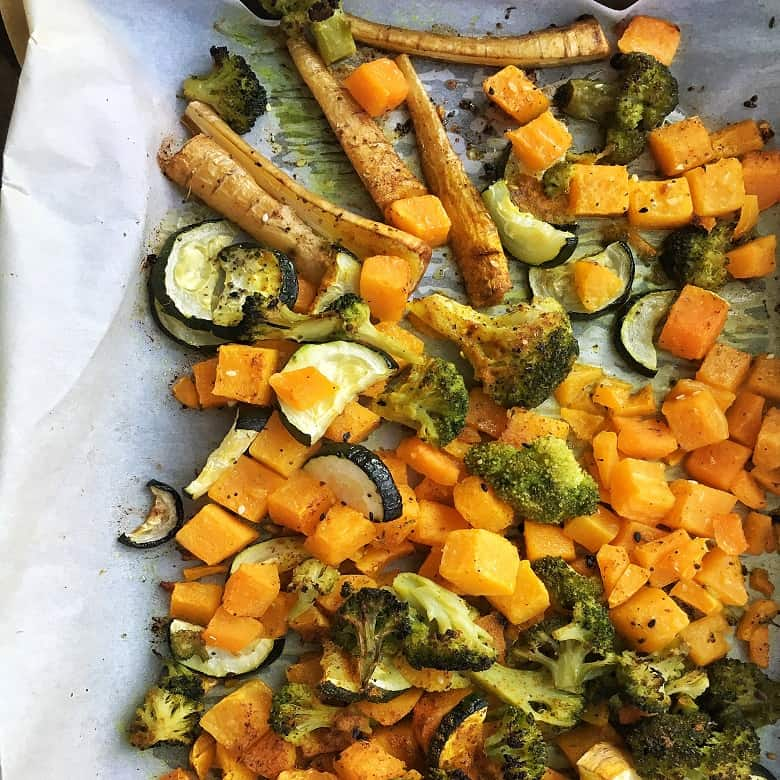 veggies baked on a sheet pan | Bucket List Tummy
