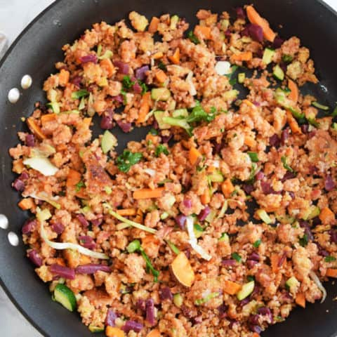 Sweet Potato Beet Quinoa Breakfast Scramble in skillet
