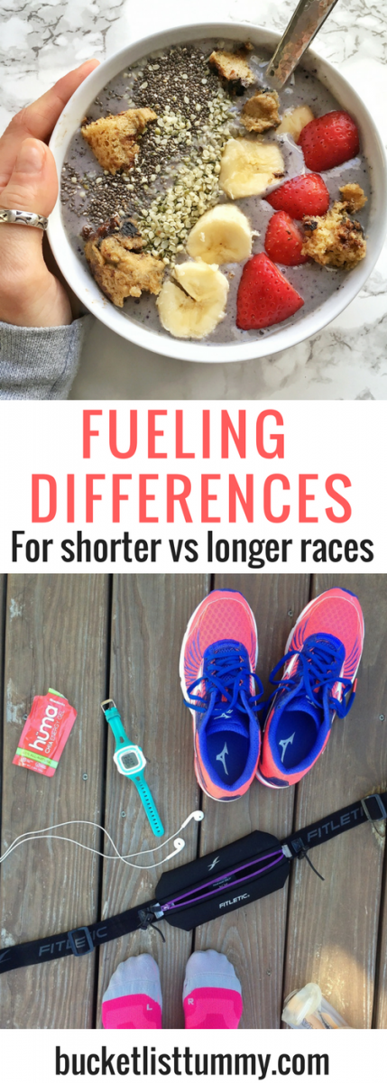 Confused about how to fuel for a 5k, or 10k vs a half or full marathon? Here are some of the basic differences on calories, electrolytes and fueling for shorter vs. longer distance races