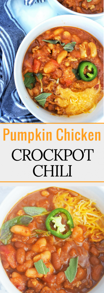 Pumpkin Chicken Crockpot Chili is a perfect option for your fall nights! Full of hearty protein, vegetables, fiber and vitamins, this chili is great for warming you up and keeping you nourished.