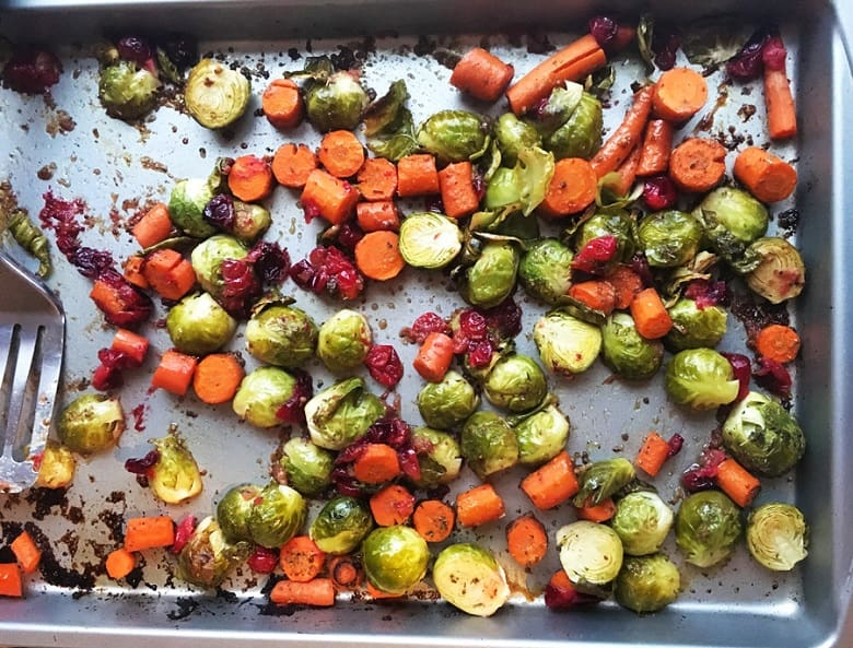 Close up of Sheetpan Maple Balsamic Roasted Veggies on silver sheetpan | Bucket List Tummy