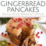 stack of gingerbread pancakes with pomegranate seeds and chocolate chips