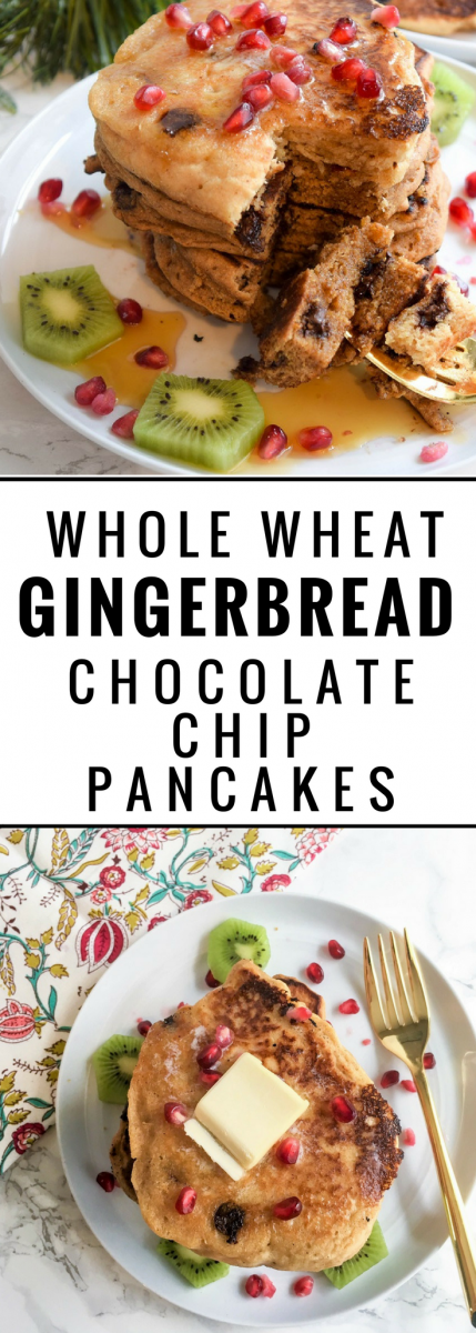 whole wheat chocolate chip gingerbread pancakes #pancakes #christmasrecipes #gingerbreadpancakes