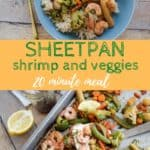 honey garlic shrimp and vegetables on sheet pan