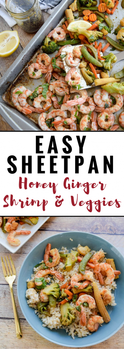 Sheet Pan Honey Ginger Shrimp and Veggies #sheetpandinners #shrimp #quickdinner #seafood #sponsored