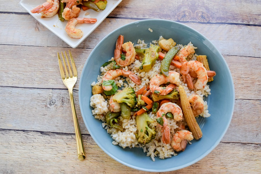 Sheet Pan Honey Ginger Shrimp and Veggies #sheetpandinners #shrimp #quickdinner #seafood