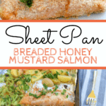 Sheet pan salmon with text overlay
