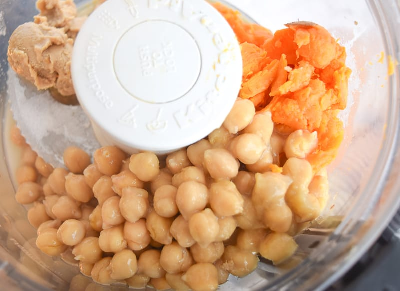 Chickpeas and sweet potatoes in blender to make sweet potato chickpea cookie dough dip