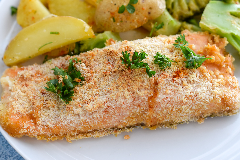 Sheet Pan Breaded Honey Mustard Salmon, an easy, one pan dinner for easy prep and cleanup