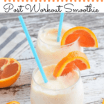 orange mango smoothie with cara cara oranges in wine glasses with text overlay | Bucket List Tummy