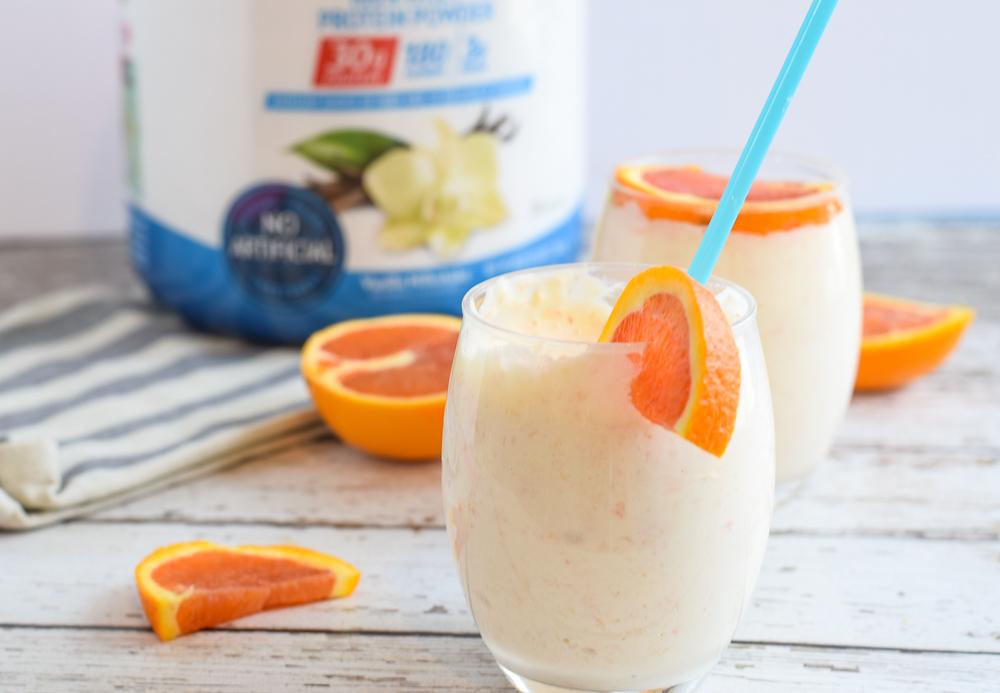 Mango Orange Smoothie with vanilla protein powder is great post workout smoothie | Bucket List Tummy