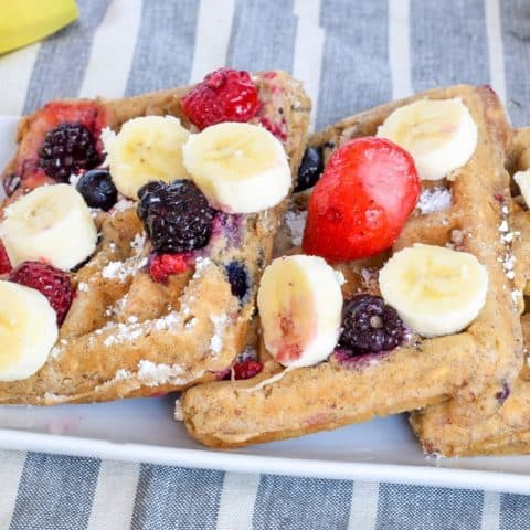 easy healthy oat waffles topped with berries | Bucket List Tummy