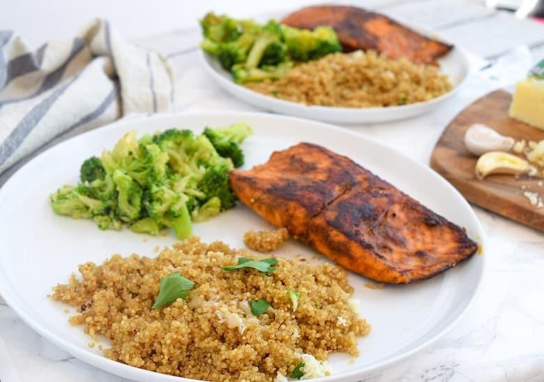 leftover quinoa recipe served with salmon and broccoli