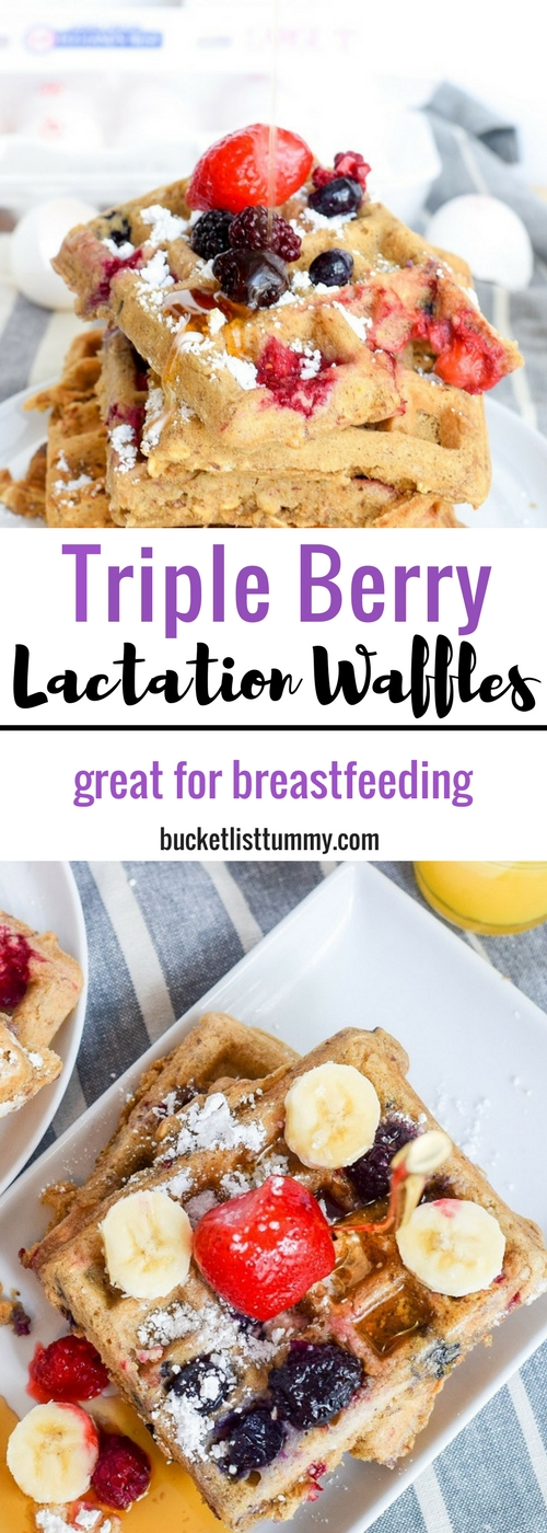 Triple Berry Lactation Waffles | galactogogues | Breastmilk recipes