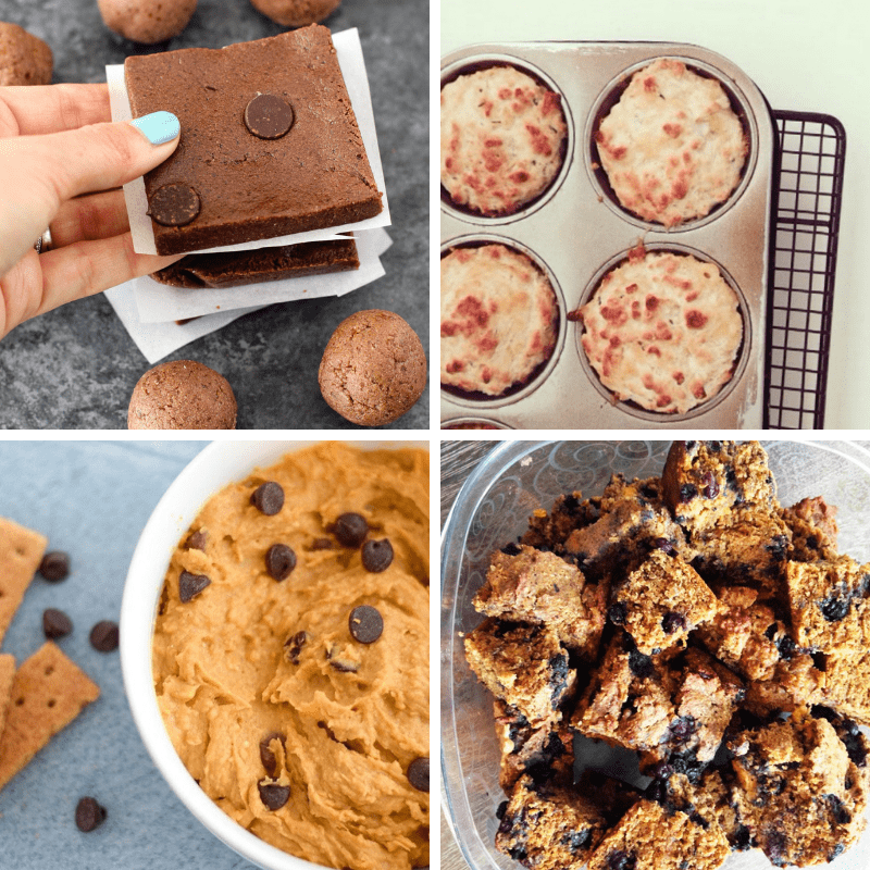 Collage of 4 different snack ideas for meal prep