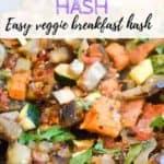 Sweet potato eggplant hash close up in skillet | bucketlisttummy.com
