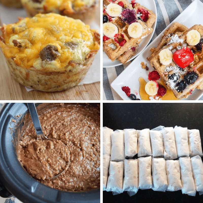 Collage of different freezer meal ideas