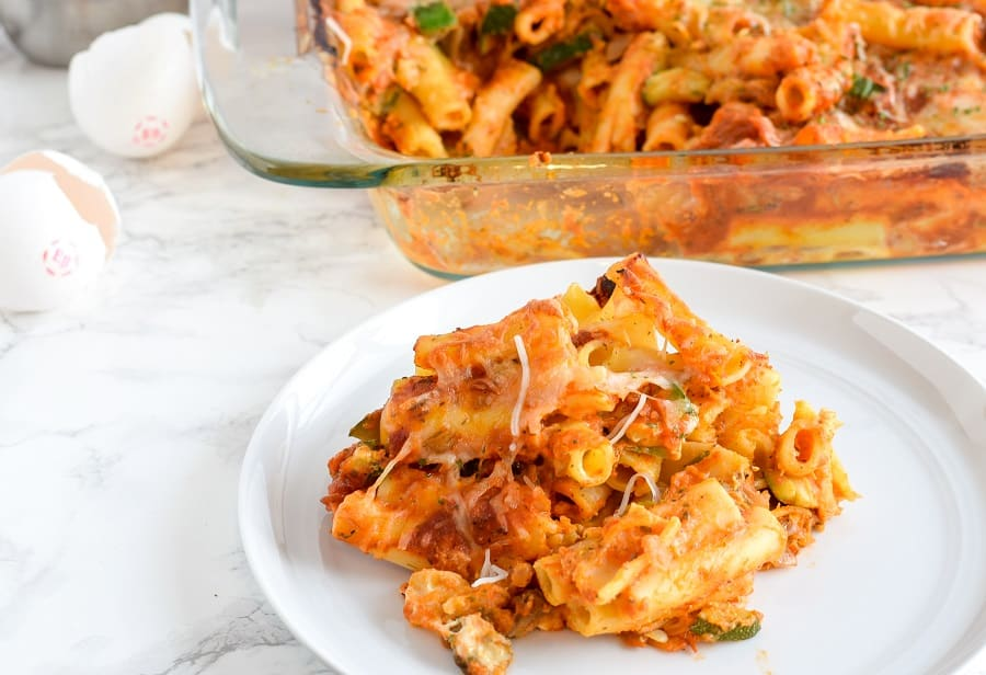 Easy pasta bake on a dish