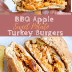BBQ Apple Sweet Potato Burgers before taking a bite with text overlay