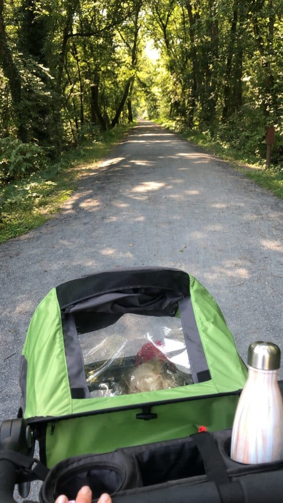 Running stroller on trail for running after C Section | Bucket List Tummy