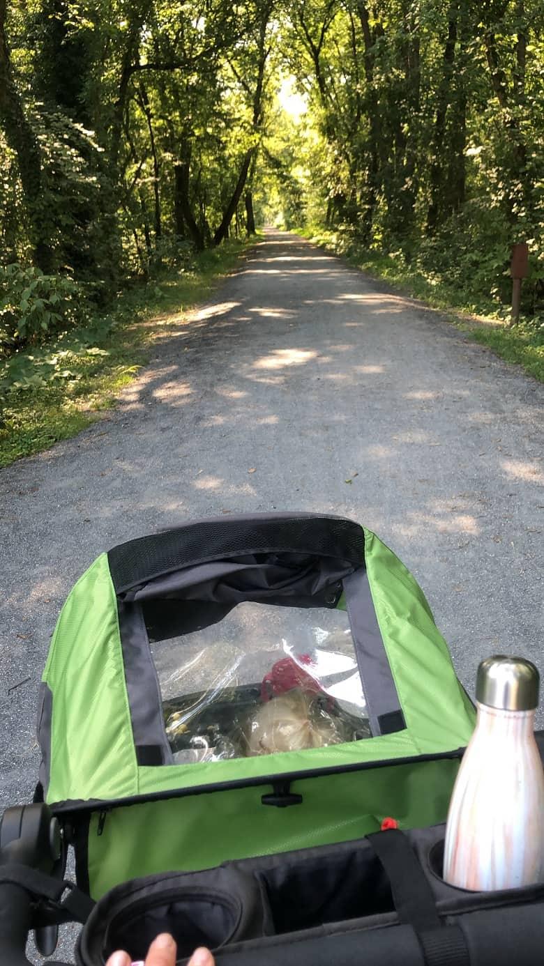 Running stroller on trail | Bucket List Tummy