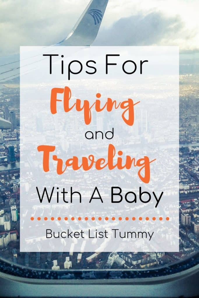Text Overlay of city - tips for flying with a baby