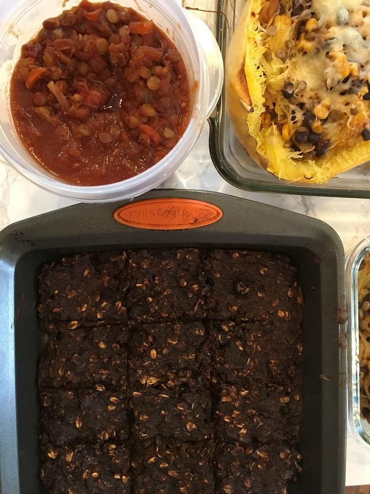 Lentils, squash and brownies cooling on counter for meal prep