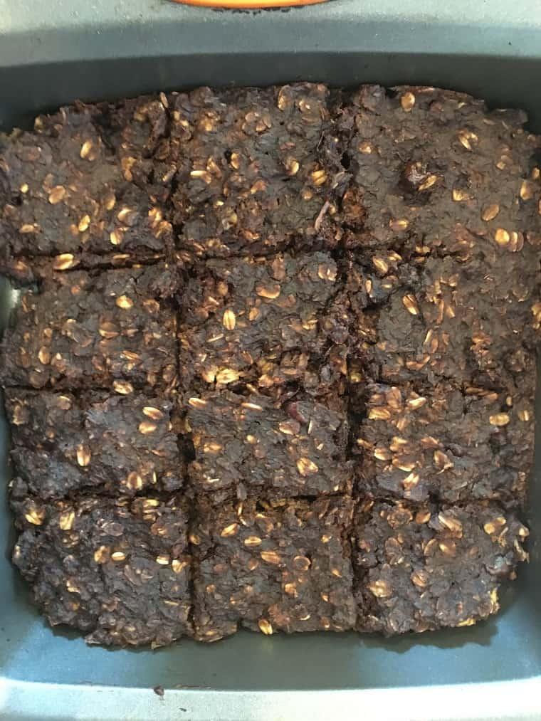 oatmeal brownies in baking pan