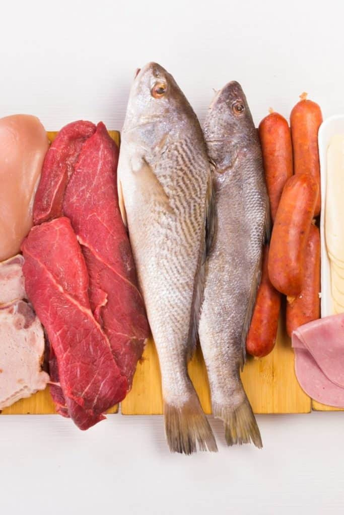 Sources of protein, like meat, fish and cheese on white background