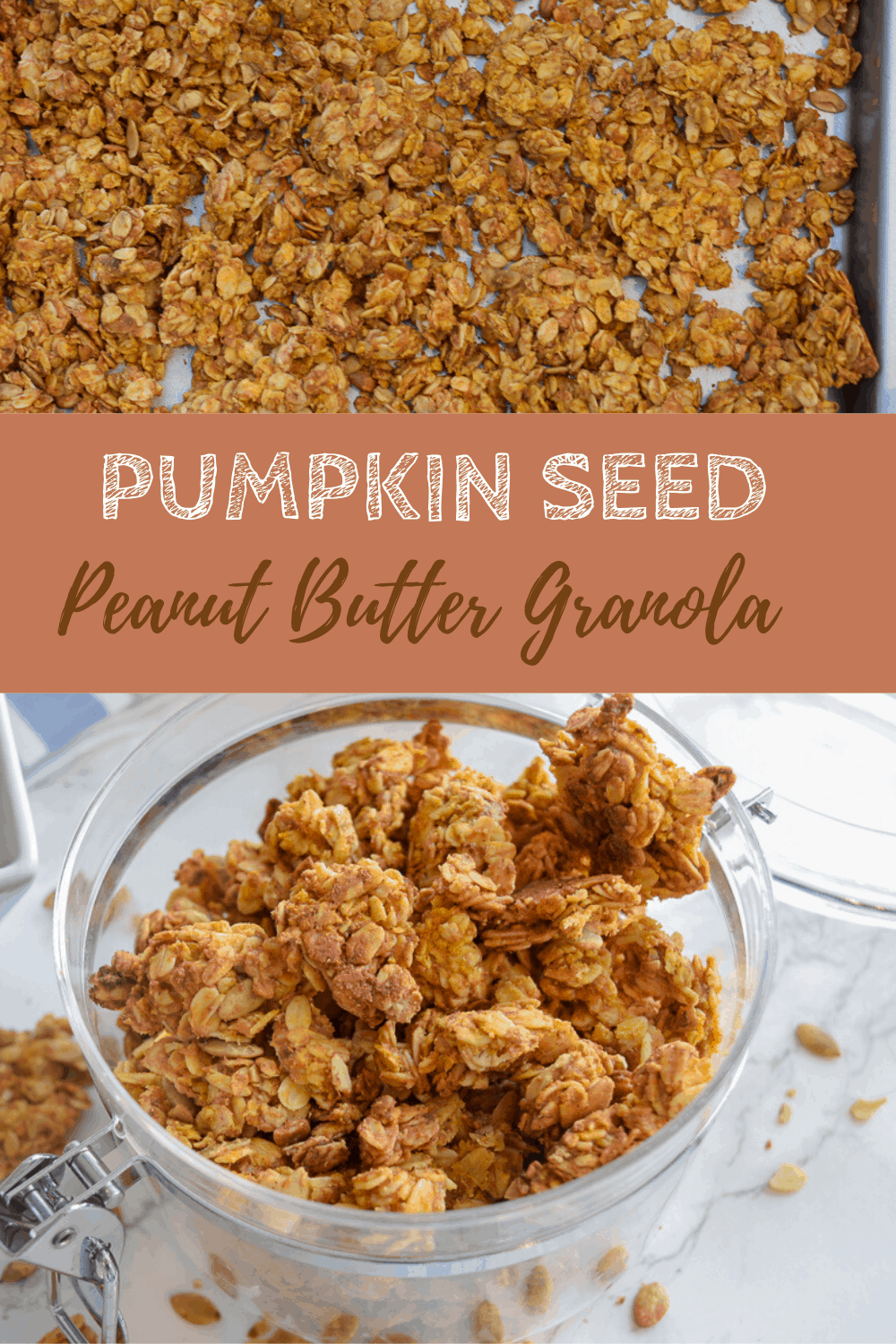 pumpkin seed granola clusters in clear container