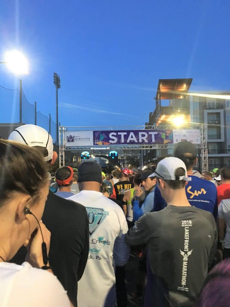 starting line for Novant Health Half Marathon in 2018