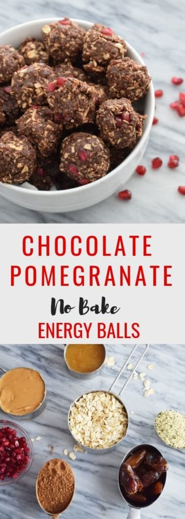 No Bake Chocolate Pomegranate Energy Balls