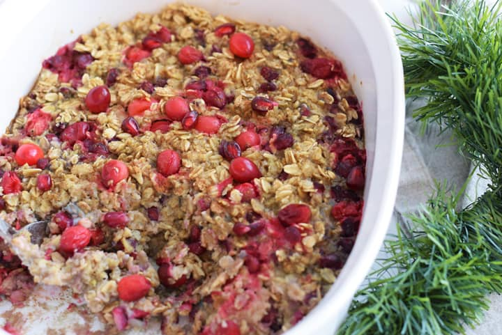 Ceramic bowl with pomegranate baked oatmeal