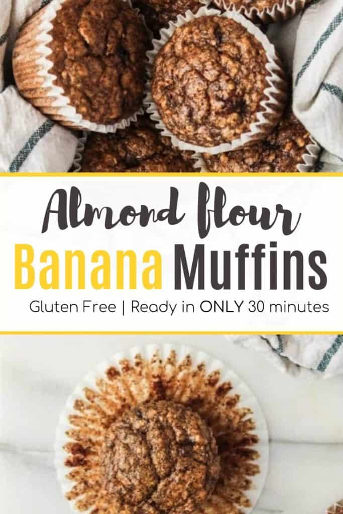 Overhead shot of basket of almond flour banana muffins | Bucket List Tummy