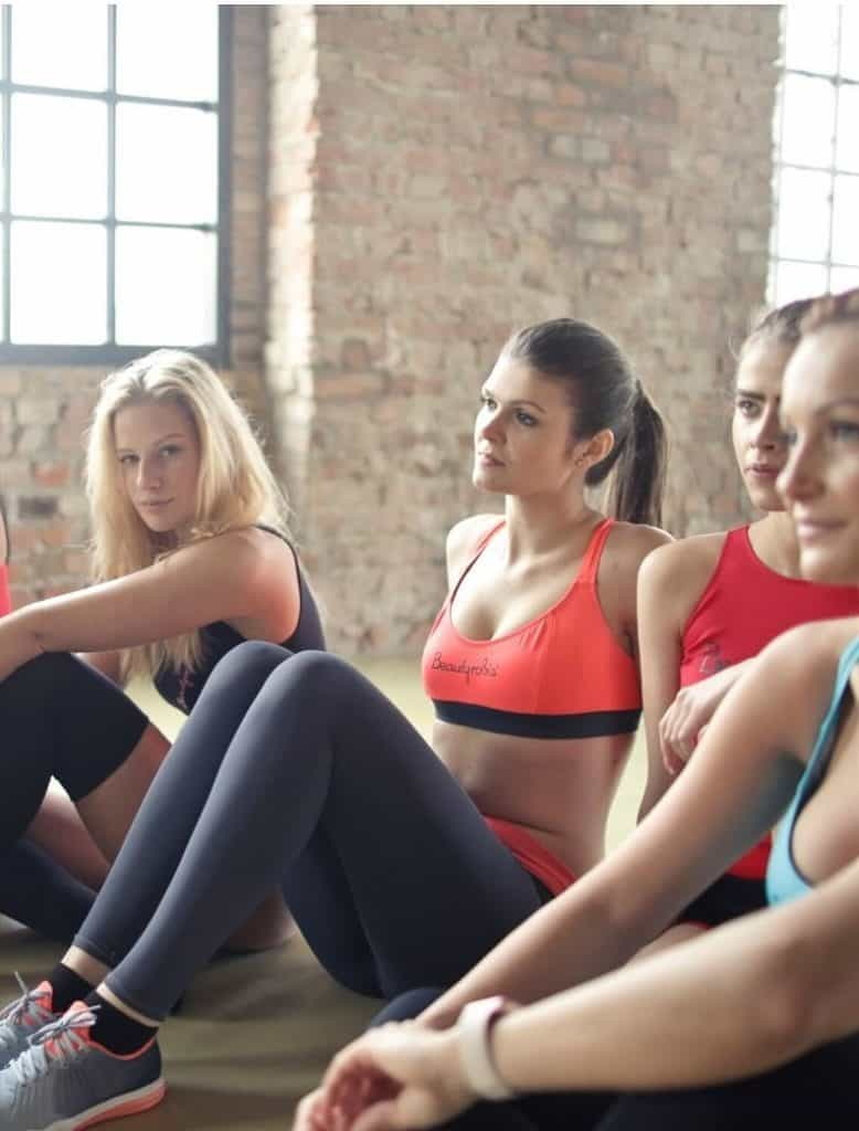 girls sitting in exercise class