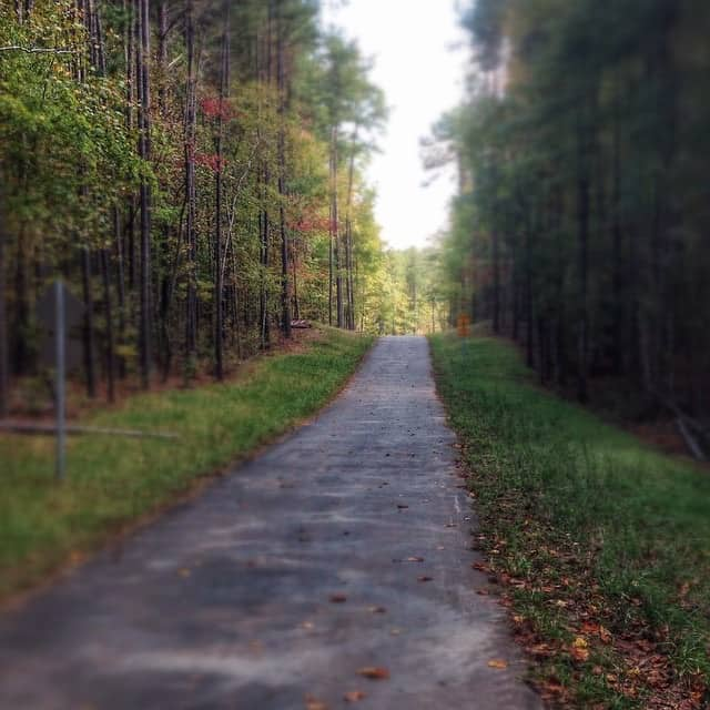paved running and walking path in north carolina with grass on both sides