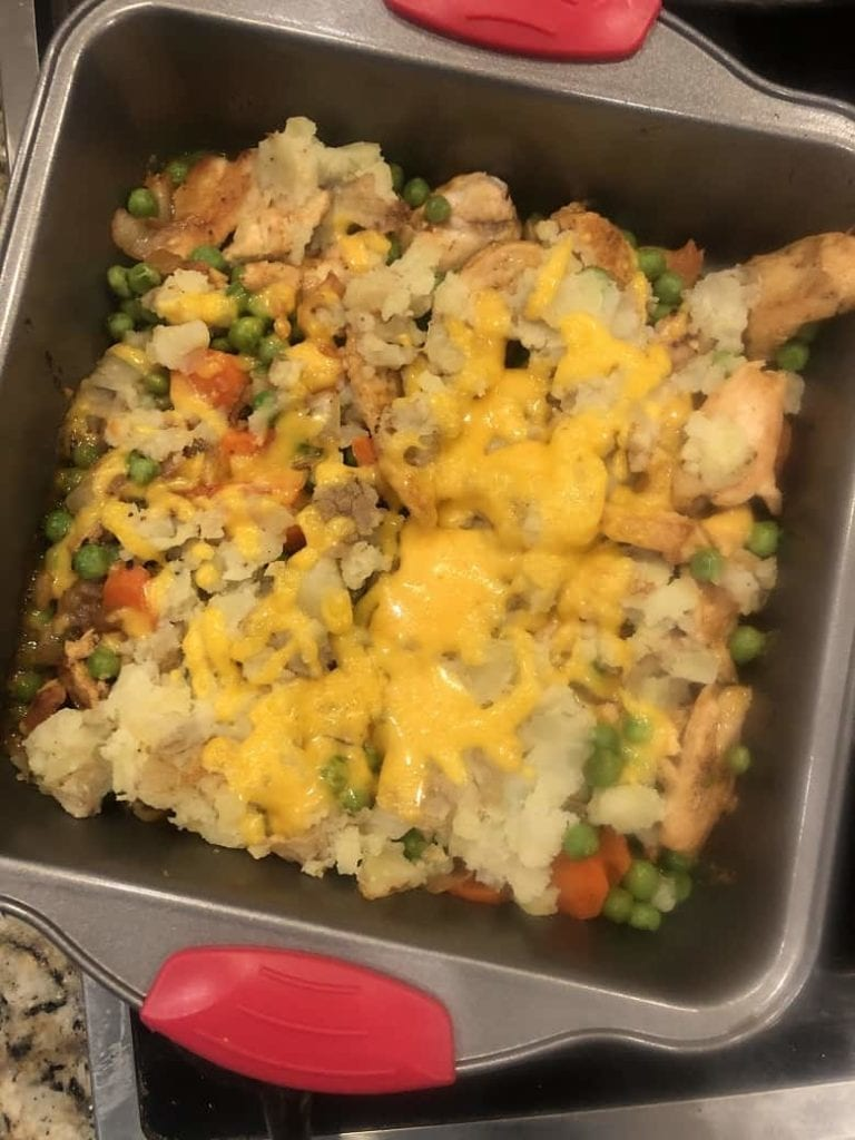 Hello Fresh meal with mashed potatoes and peas in baking dish