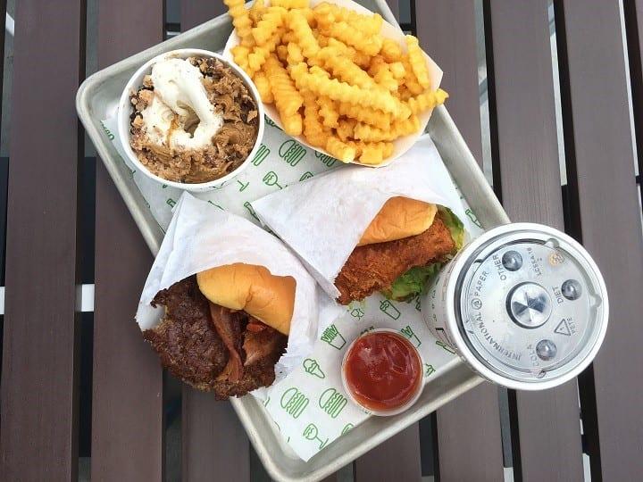 Shake shack burger, fries and milkshake
