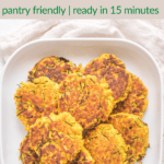 Zucchini salmon cakes on a white plate with text overlay   Bucket List Tummy